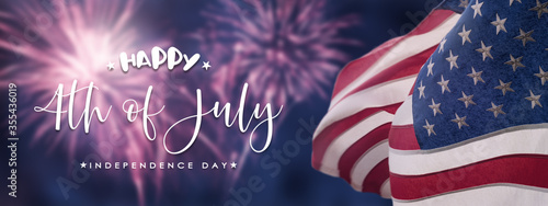 Fototapeta American National Holiday. US Flags with American stars, stripes and national colors. Independence Day. 4th July. obraz