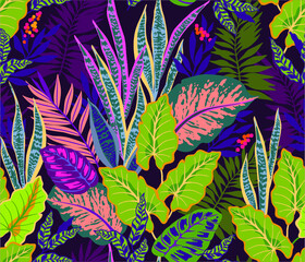 Panel Szklany Natura Seamless background with tropical leaves. Bright jungle pattern with palm leaves and exotic plant. The elegant template with Hawaiian motifs, on dark violet background.