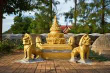Golden Stupa With Lions At The...