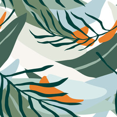 Fototapeta Inspiracje na jesień Artistic seamless pattern with abstract leaves. Modern design