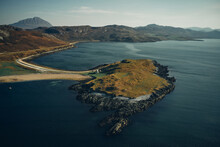 Aerial View Of Loch And Mounta...