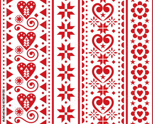 Christmas vector seamless vertical pattern - Scandinavian traditional embroidery Slika na platnu