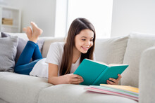 Photo Of Little Pretty Pupil School Lady Lying Comfy Sofa Reading Diary Book Positive Good Mood Diligent Student Social Distance Quarantine Home Study Comfort Room Indoors