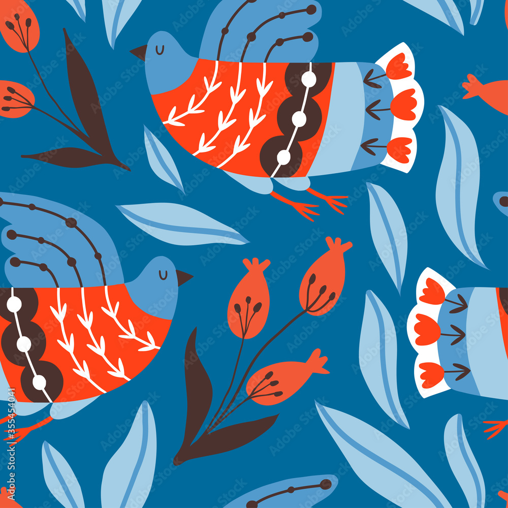 Seamless pattern with birds and flowers with different folk ornaments