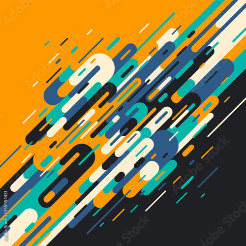 Stampa su Tela Retro style abstraction in color