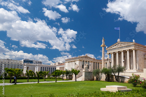 The architectonic Hansen Trilogy, in Athens, Greece, three emblematic buildings from right to left: the Academy, the University, the National Library Canvas Print