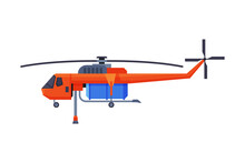 Firefighting Helicopter, Emergency Service Vehicle Flat Style Vector Illustration Isolated On White Background