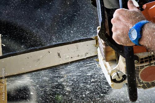 Fotografie, Obraz saw cutting wood