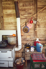 Old Stove With Pots Used For C...