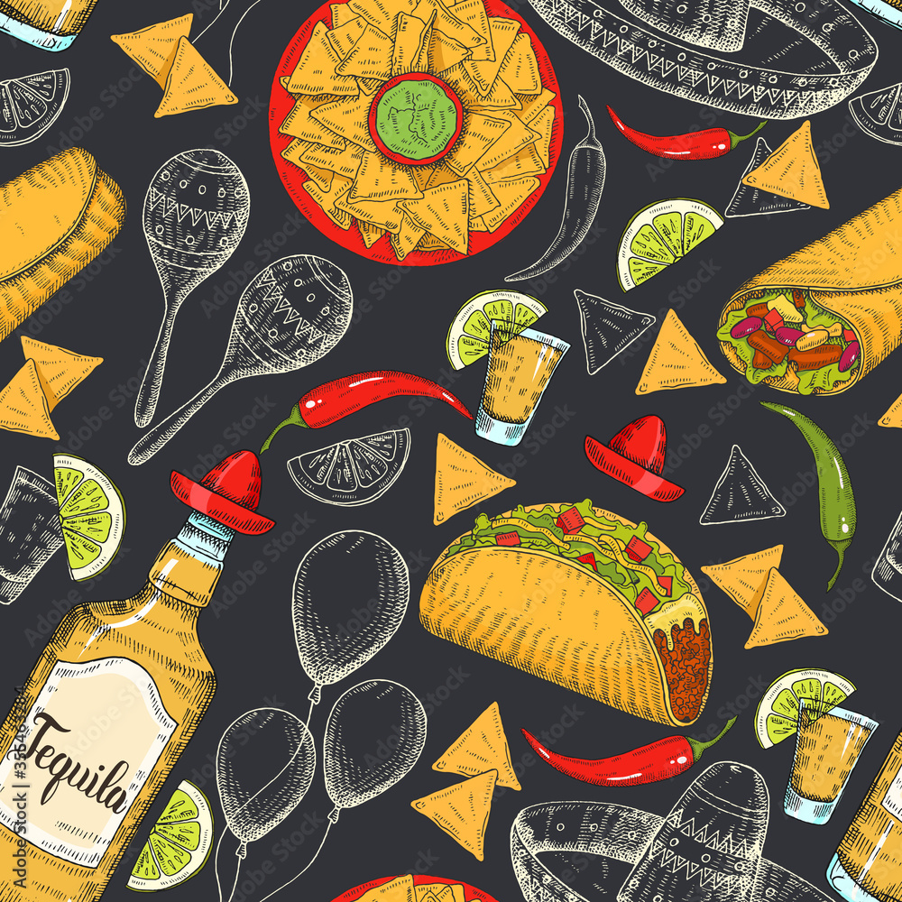 Seamless pattern with hand drawn Mexican food - chili pepper, guacamole, maracas, sombrero, lime, jalapenos, nachos, tacos, burritos, tequila on black. Sketch. Cinco de Mayo