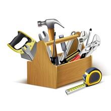 3d Realistic Vector Instruments Wooden Box, Tool Box.