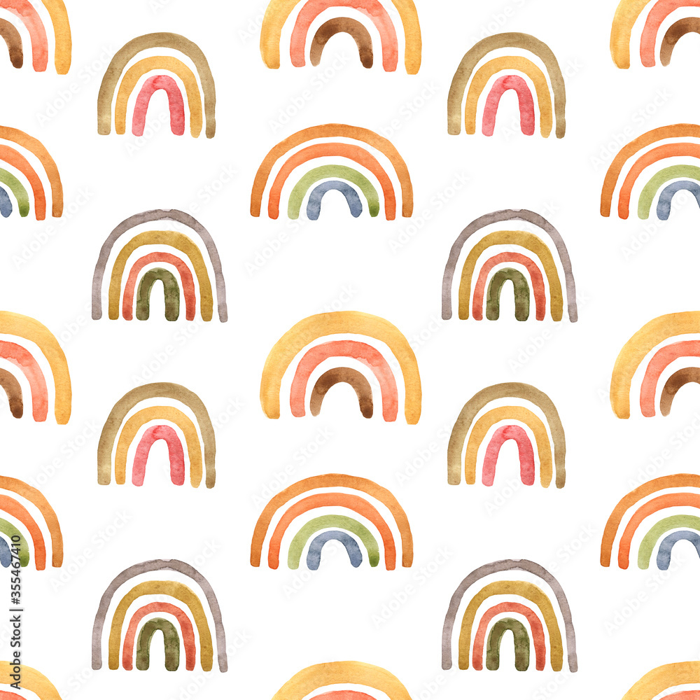 Childish cute seamless pattern with watercolor pastel pink, terracotta, burnt orange and yellow naive rainbows on white background. Hand painted illustration in scandinavian style. Boho arch print