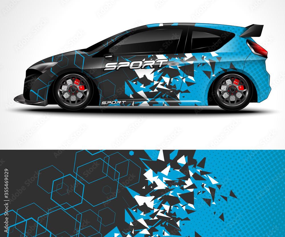 Fototapeta Racing Sport Car Wrap design and vehicle livery