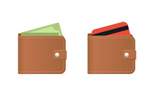 Purse Icon - Brown Leather Wallet With Banknote And Credit Card Inside - Vector Isolated Illustration