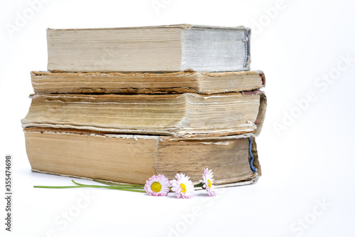 a stack of old books Canvas Print