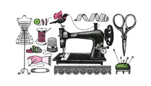A Set Of Accessories For The Tailor. Vector Illustration In Vintage Style.