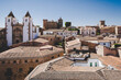 Townscape of the old town of Caceres, Extremadura, Spain, with rooftops and church