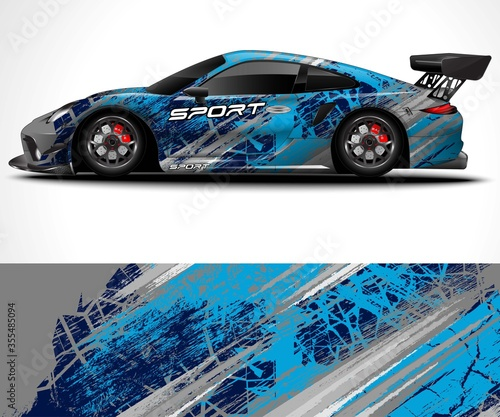 Racing sport car wrap design and vehicle livery Fototapet