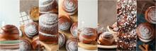 Food Collage Of Tasty Cinnamon...