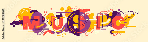 Leinwand Poster Abstract style music banner design with typography and colorful fluid shapes