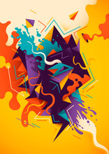 Artistic Illustration With Abstract Composition, Made Of Various Splattered And Geometric Shapes In Intense Colors. Vector Illustration.