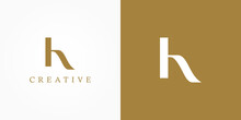 Initial Letter H Logo. Gold And White Shape Calligraphy Style Isolated On Double Background. Usable For Business And Branding Logos. Flat Vector Logo Design Template Element.