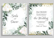 Vector floral template for wedding invitations. Orchid flowers, gold sparkles, green plants, leaves. All elements are isolated.