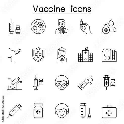 Fototapeta Vaccine icons set in thin line style obraz na płótnie