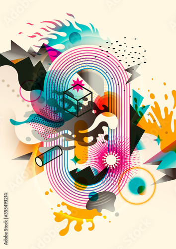Modern abstract illustration made of various shapes and objects in intense colors Canvas Print