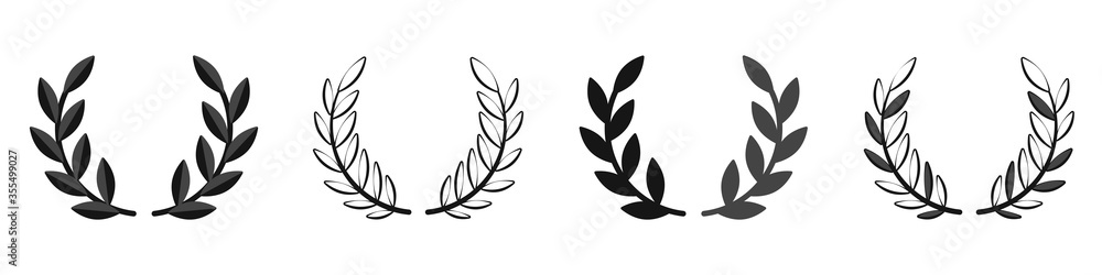 Fototapeta Laurel wreath set. Vector illustration