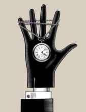 Hand In Black Glove With A Retro Pocket Watch