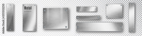 Fototapeta Metal banners set realistic. Vector Metal brushed plates with a place for inscriptions isolated on transparent background. Realistic 3D design. Stainless steel background. obraz