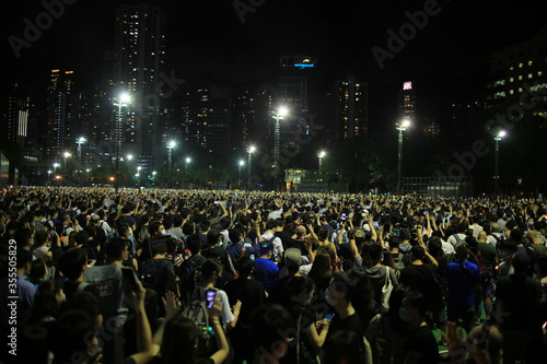 thousands of people attend the Tiananmen square  anniversary candlelight vigils Canvas Print