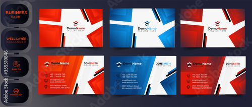 Fototapeta Red modern creative business card and name card,horizontal simple clean template vector design, layout in rectangle size.Modern Geometric Business Card Template obraz