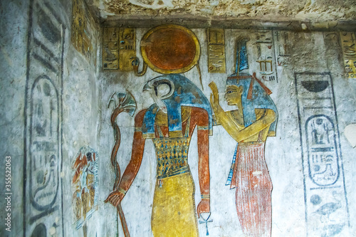 Fototapeta Ancient burial chambers with Egyptian hieroglyphics at the valley of the kings, Luxor, Egypt