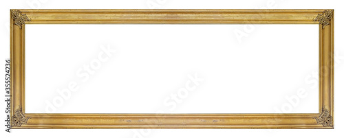 Panoramic golden frame for paintings, mirrors or photo isolated on white backgro Slika na platnu