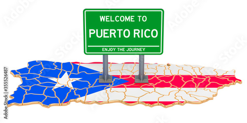 Billboard Welcome to Puerto Rico on Puerto Rican map, 3D rendering Canvas Print