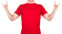 Man In Red T-shirt Showing Roc...