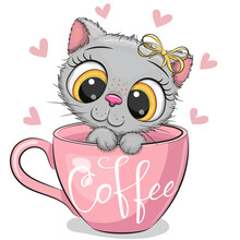 Cartoon Kitten With A Bow Is Sitting In A Cup Of Coffee