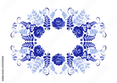 Fotografija Oval floral vector element, abstract design, made in the technique of Russian fo