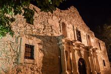 Mission San Antonio De Valero( Aka The Alamo, Illuminated At Night, San Antonio Missions NHP, San Antonio, Texas,USA