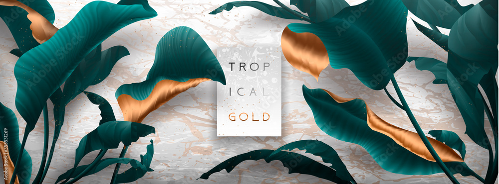 Fototapeta Palm leaves, gold, marble template, artistic covers design, colorful texture, modern backgrounds.Trendy pattern, graphic brochure. Luxury Vector illustration