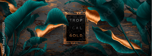 Valokuvatapetti Palm leaves, gold, marble template, artistic covers design, colorful texture, modern backgrounds