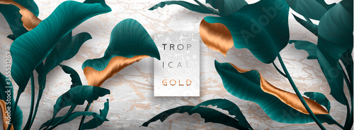 Leinwand Poster Palm leaves, gold, marble template, artistic covers design, colorful texture, modern backgrounds