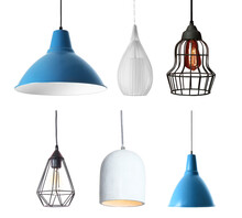 Set Of Different Modern Hanging Lamps On White Background