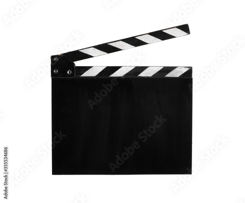 Photo movie clapper isolated on white background