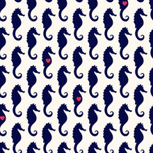 Vector Seamless Geometric Pattern With Silhouettes Of Sea Horses And Small Red Hearts. Maritime Backdrop. Retro Nautical Background For Textile, Texture, Print,wrapping Paper, Scapbooking