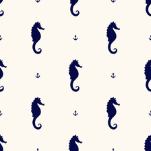 Vector Seamless Geometric Pattern With Silhouettes Of Sea Horses And Small Anchors. Maritime Backdrop. Retro Nautical Background For Textile, Texture, Print,wrapping Paper, Scapbooking