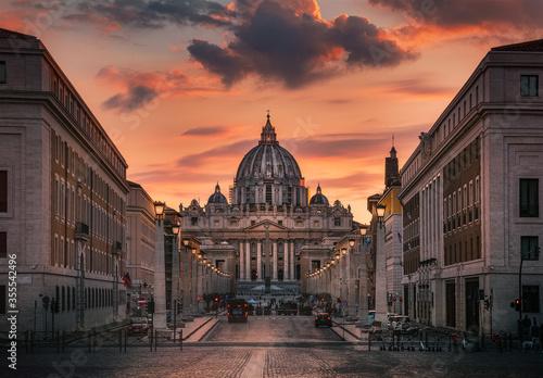 rome view of san peter basilica at sunset Fotobehang