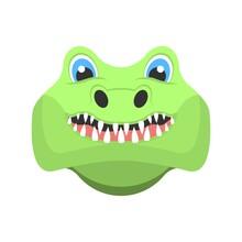 Cute Crocodile Cartoon Icon. A...